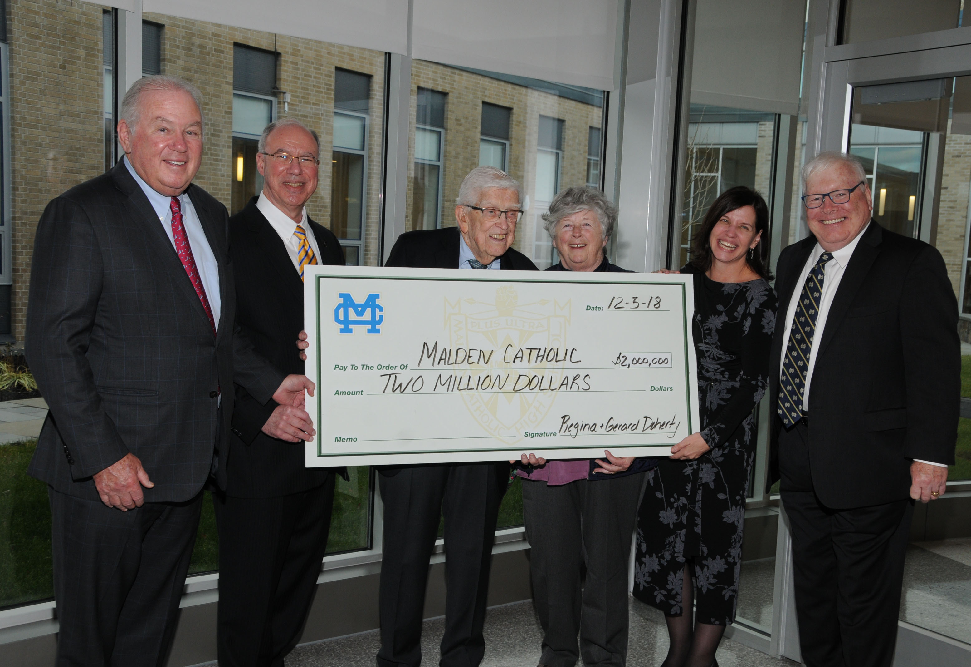 Malden Catholic Receives $2 Million Gift from Gerard '46 and Regina Doherty
